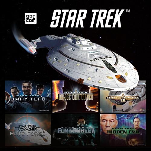 Promotional images for several vintage Star Trek PC Games